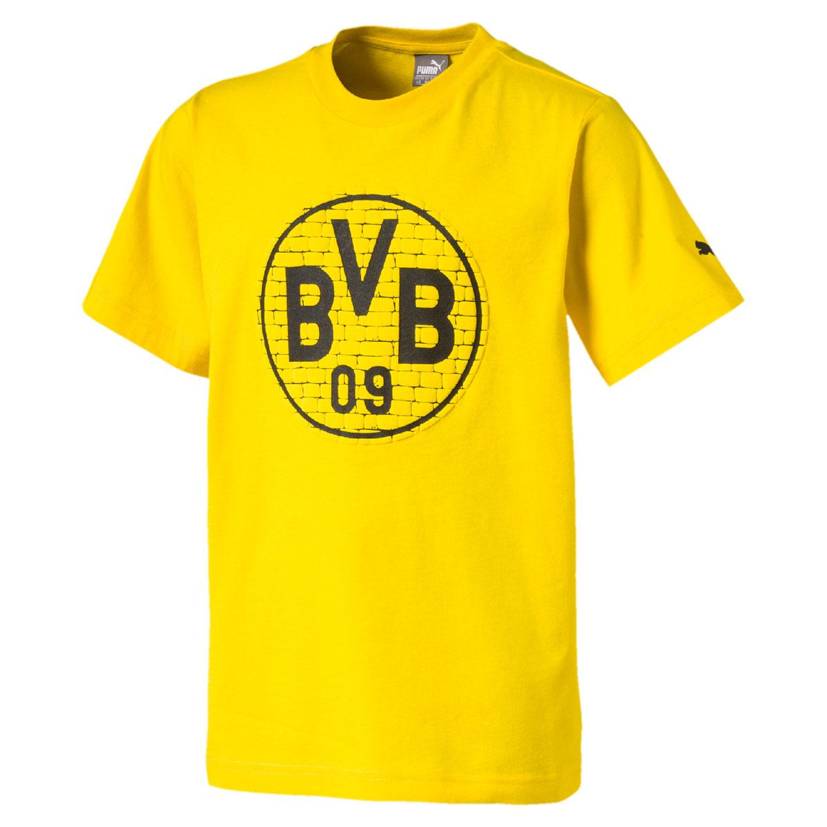 Футболка для мальчика Puma BVB Fan Tee Jr, цвет: желтый. 752868117. Размер 164 бейсболка для мальчика puma minions suede flatbrim jr цвет черный 02147701 размер универсальный