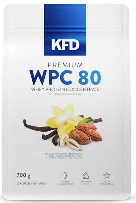 Изолят KFD Premium WPC, белый шоколад, 700 г5901947664117Premium WPC80 от KFD Nutrition - это высококачественный порошковый 100% чистый концентрат сывороточного белка. Прекрасный вкус продукта, отличная растворимость и отсутствие стойкой пены должны удовлетворить даже самых привередливых потребителей белка. В нём нет красителей, консервантов или низкокачественных примесей растительных белков.Premium WPC80 KFD не содержит аспартама или других добавок (искусственных красителей, отмеченных буквой «E» и наполнителей), которые влияют на здоровье. Дополнительным достоинством этого протеина является отсутствие в составе соевого белка, пшеничного белка (известной также как пептид l-глютамин), рисового протеина и других ингредиентов более низкого качества. Протеин содержит высокую концентрацию BCAA.В отличие от американских протеинов, Premium WPC80 KFD не содержит пищеварительных ферментов, целью которых является сокрытие низкогокачественного сырья (концентратов с высоким содержанием лактозы, которая является основным сахаром, получаемым из молока).Сывороточный протеин Premium WPC80 KFD является отличным источником белка, который легко усваивается организмом и способствует быстрому восстановлению после тренировок, что делает его идеальным дополнением к рациону для любого спортсмена или активного человека. В сочетании с подходящей тренировочной программой и диетой Premium WPC80 позволяет увеличить мышечные объемы или уменьшает жировые отложения.Состав: Энергетическая ценность 379 ккал (1587 кДж) Белки 76 г Жиры 4,85 г в том числе насыщенные жирные кислоты 0,49 г Углеводы 7,75 г в том числе сахар 0,5 г Пищевые волокна 0 Сода 0,72 г. Состав на 30 г (одна порция): Энергетическая ценность 114 ккал (477 кДж) Белки 22,8 г. Жиры 1,45 г. в том числе насыщенные жирные кислоты 0,14 г. Углеводы 2,32 г в том числе сахар 0,15 г Пищевые волокна 0 г Сода 0,22 г Ингредиенты: Концентрат сывороточного белка, какао (для шоколадных ароматов), ароматические вещества (отсутствует в природном вариа