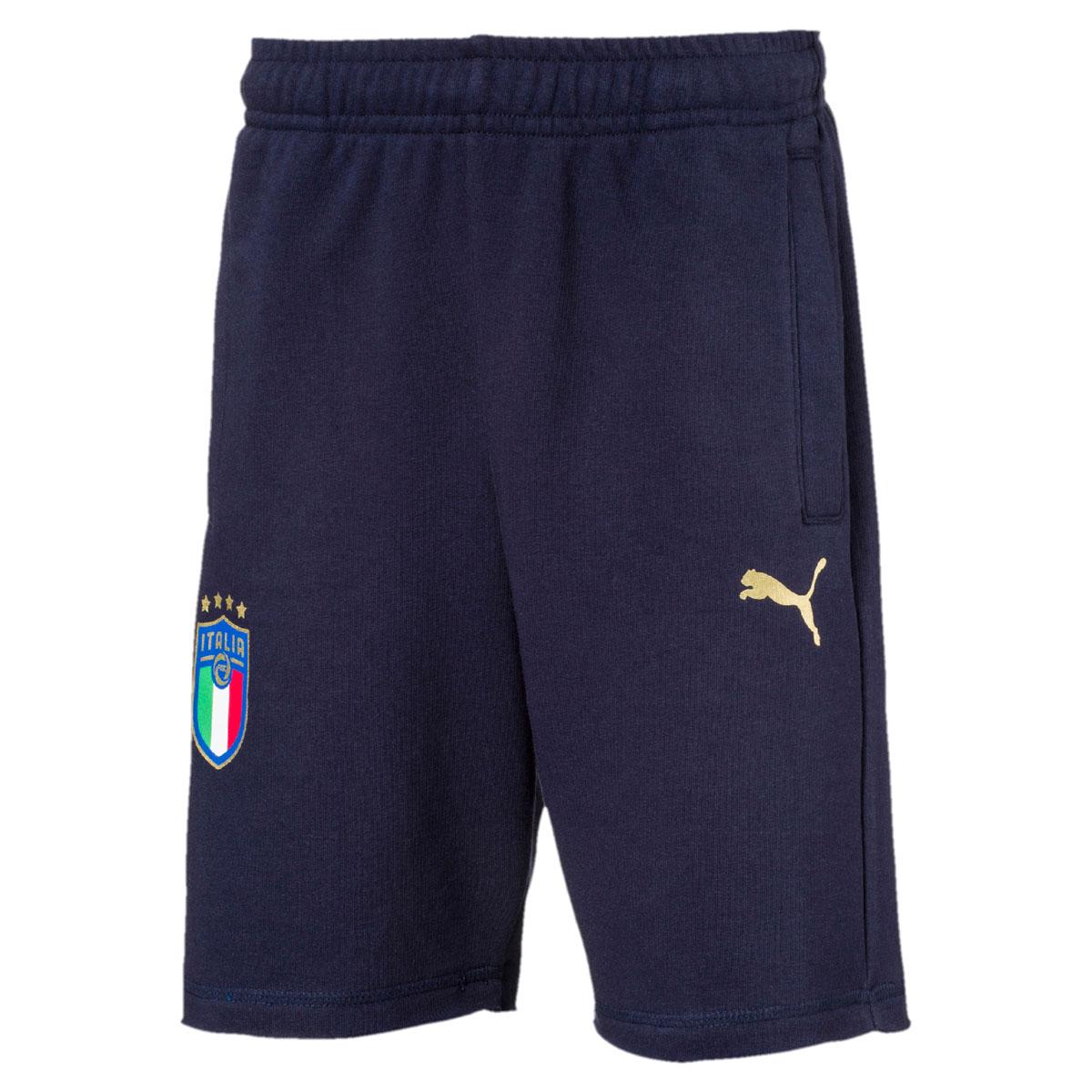 Шорты для мальчика Puma FIGC Italia Fan Bermudas Jr, цвет: синий. 752873107. Размер 164 бейсболка для мальчика puma minions suede flatbrim jr цвет черный 02147701 размер универсальный