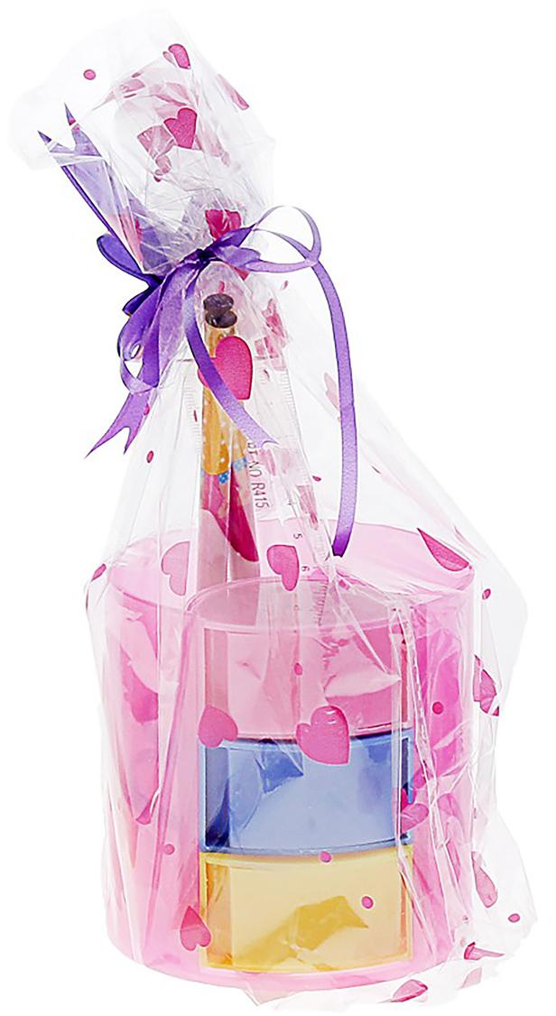 Канцелярский набор Веер цвет розовый 5 предметов 550134550134Изделия данной категории необходимы любому человеку независимо от рода его деятельности. Канцелярский набор поможет организовать ваше рабочее пространство и время. Востребованные предметы в удобной упаковке будут всегда под рукой в нужный момент.В набор входит: 2карандаша чгр, линейка, ножницы, подставка
