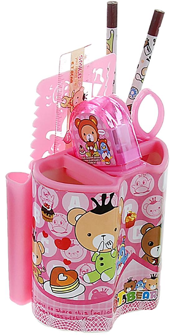 B.T.Bear Канцелярский набор Мишки цвет розовый 7 предметов 892710 -  Органайзеры, настольные наборы