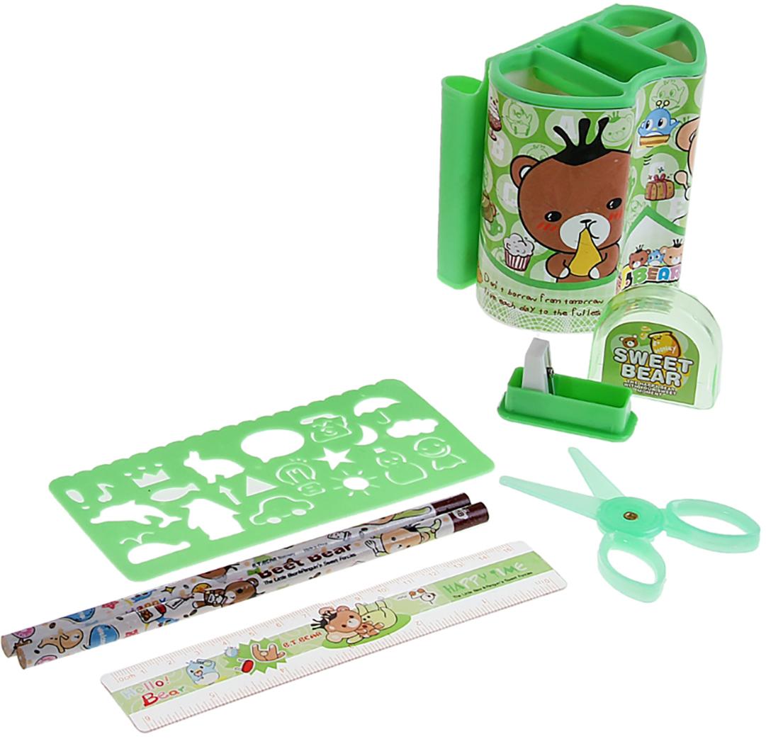 B.T.Bear Канцелярский набор Мишки цвет зеленый 7 предметов 892710 - Органайзеры, настольные наборы