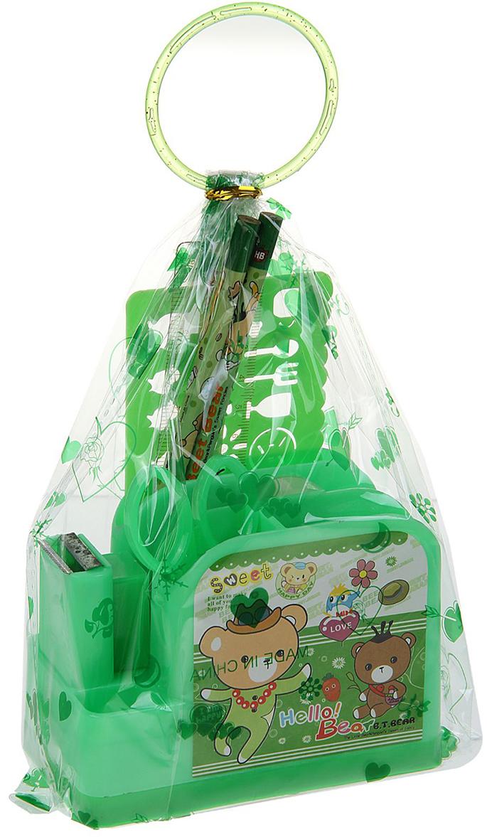 B.T.Bear Канцелярский набор Паравозик цвет зеленый 9 предметов 679329 - Органайзеры, настольные наборы