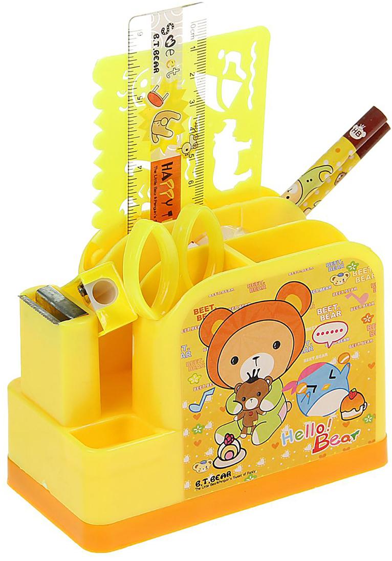 B.T.Bear Канцелярский набор Паравозик цвет желтый 9 предметов 679329 - Органайзеры, настольные наборы