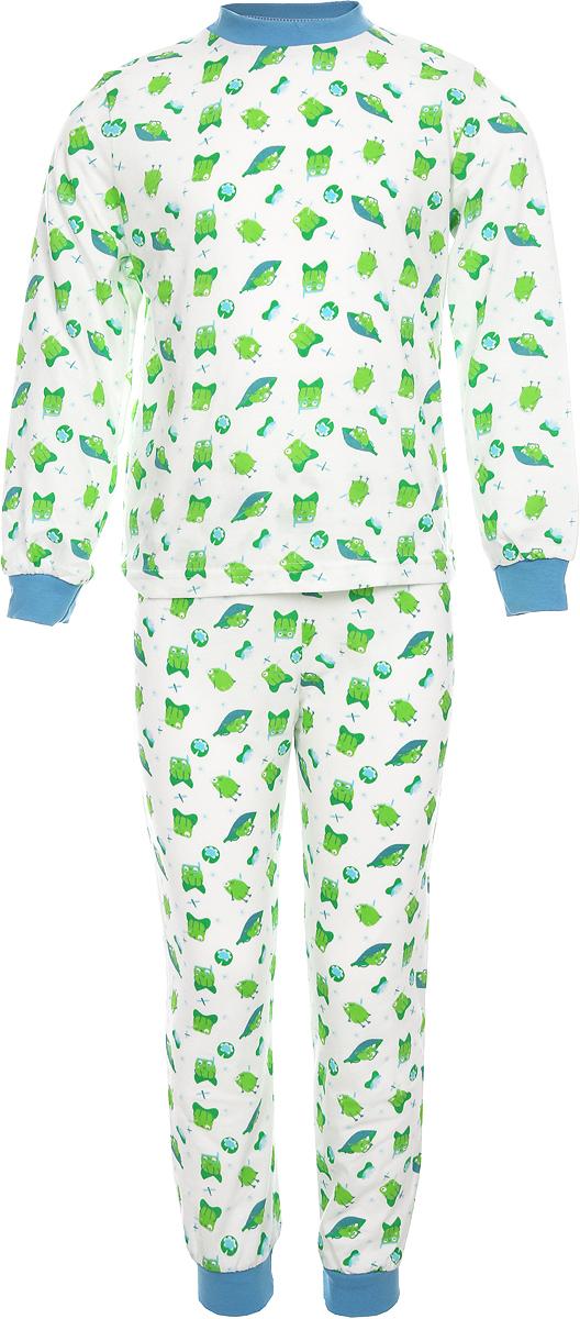 Пижама для девочки Веселый малыш, цвет: зеленый. 9317-G (1)_лягушка. Размер 929317_лягушкаУютная детская пижама Веселый малыш послужит идеальным дополнением к гардеробу ребенка, обеспечивая ему наибольший комфорт. Пижама, состоящая из лонгслива и брюк, изготовлена из кулирки, благодаря чему она очень легкая, не раздражает нежную кожу ребенка и хорошо вентилируется. Круглый вырез горловины и манжеты рукавов лонгслива, а также низ штанин дополнены широкой трикотажной резинкой. Брюки зауженного кроя имеют мягкий пояс на вшитой резинке, не сдавливающей живот ребенка.