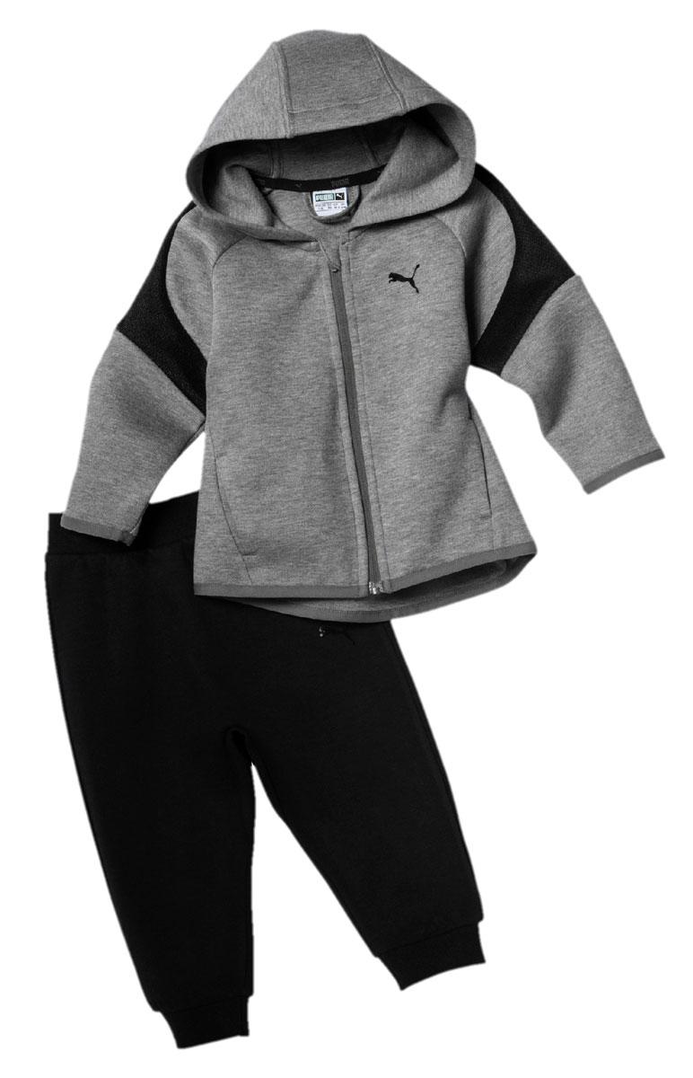 Спортивный костюм для мальчика Puma EVOstripe Set Boy, цвет: серый, черный. 85028803. Размер 80