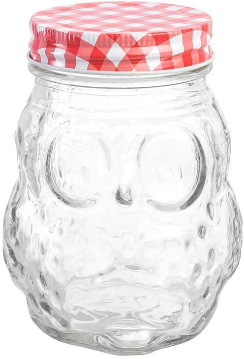 Банка для хранения Elan Gallery Сова. Клетка, с крышкой, цвет: прозрачный, красный, 470 мл300112Банка для хранения объемом 470 мл выполнена из качественного стекла с рельефным рисунком и формой совы станет незаменимым помощником в хранении продуктов! Банка плотно закрывается жестяной крышкой разных цветов, что поможет различить содержимое банок и добавит на вашу кухню цвета и яркости. Банка прекрасно подойдет для хранения специй, чая, кофе и любых других сыпучих продуктов. Также в банке можно хранить варенье, мед, орехи и любые другие продукты. А яркая упаковка делает эту банку прекрасным полезным подарком. В коллекции банок из стекла с жестяными крышками также представлены банки для хранения различных размеров и форм, кружки для коктейлей с трубочками и банки с металлическими защелками - вы сможете эстетично и удобно разместить все необходимое на вашей кухне собрав набор из необходимых вам предметов.