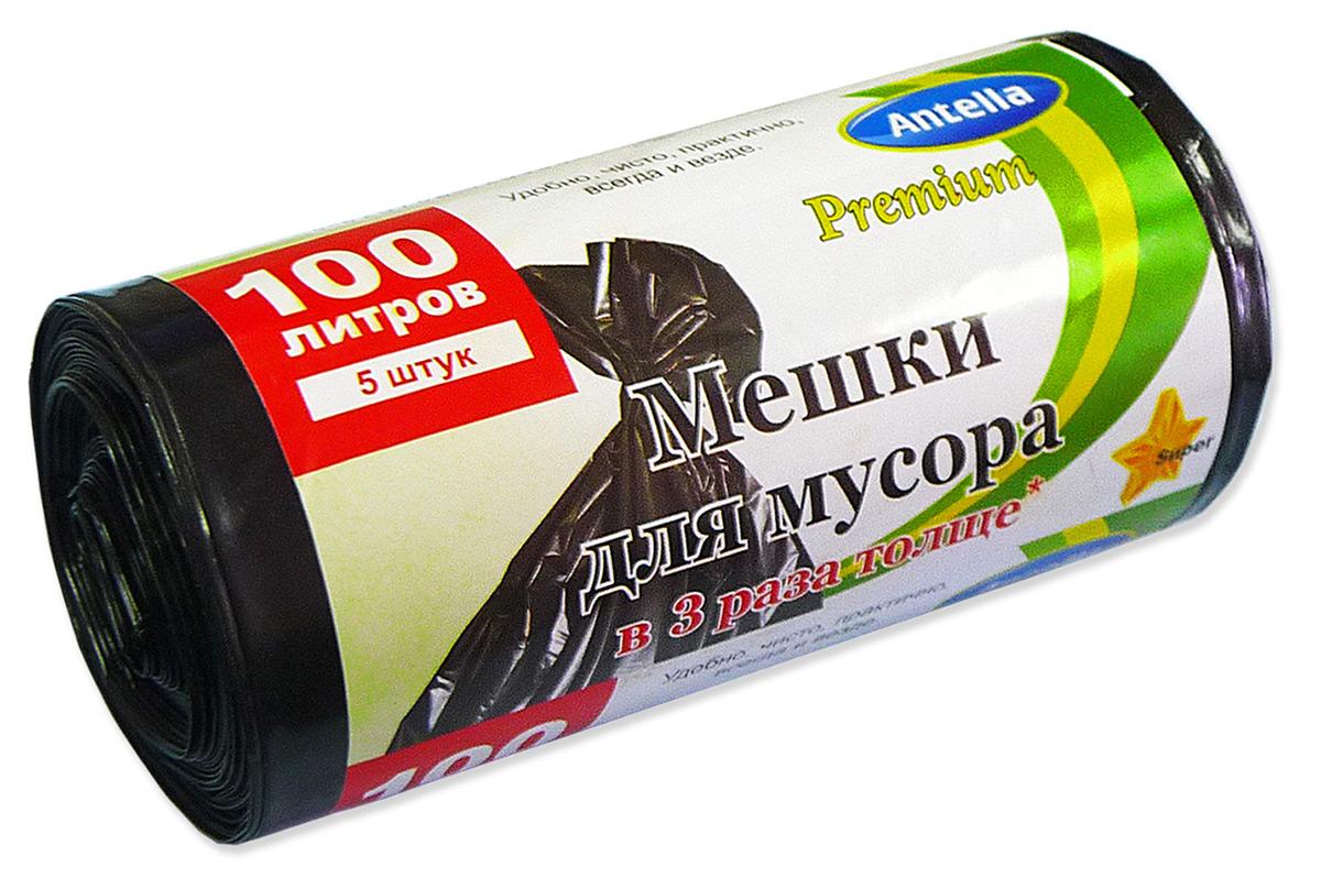 Мешки для мусора Antella, цвет: черный, 100 л, 5 шт