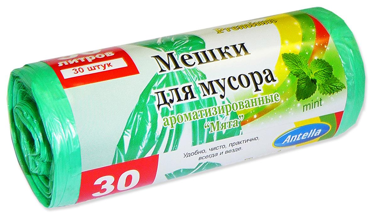 Мешки для мусора Antella Мята, цвет: зеленый, 30 л, 30 шт термоконтейнер арктика 2000 30 л зеленый