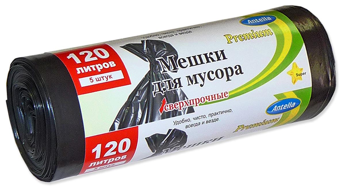 Мешки для мусора Antella, цвет: черный, 120 л, 5 шт
