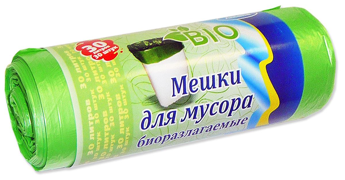 "Мешки для мусора ""Antella"", биоразлагаемые, цвет: зеленый, 30 л, 30 шт"