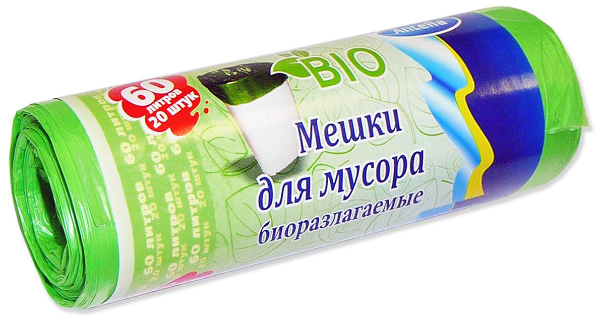 Мешки для мусора Antella, биоразлагаемые, цвет: зеленый, 60 л, 20 шт21374Для сбора и упаковки бытовых отходов. После использования утилизируется путем естественного биологического разложения в почве в течение 12 месяцев, не загрязняя окружающую среду.