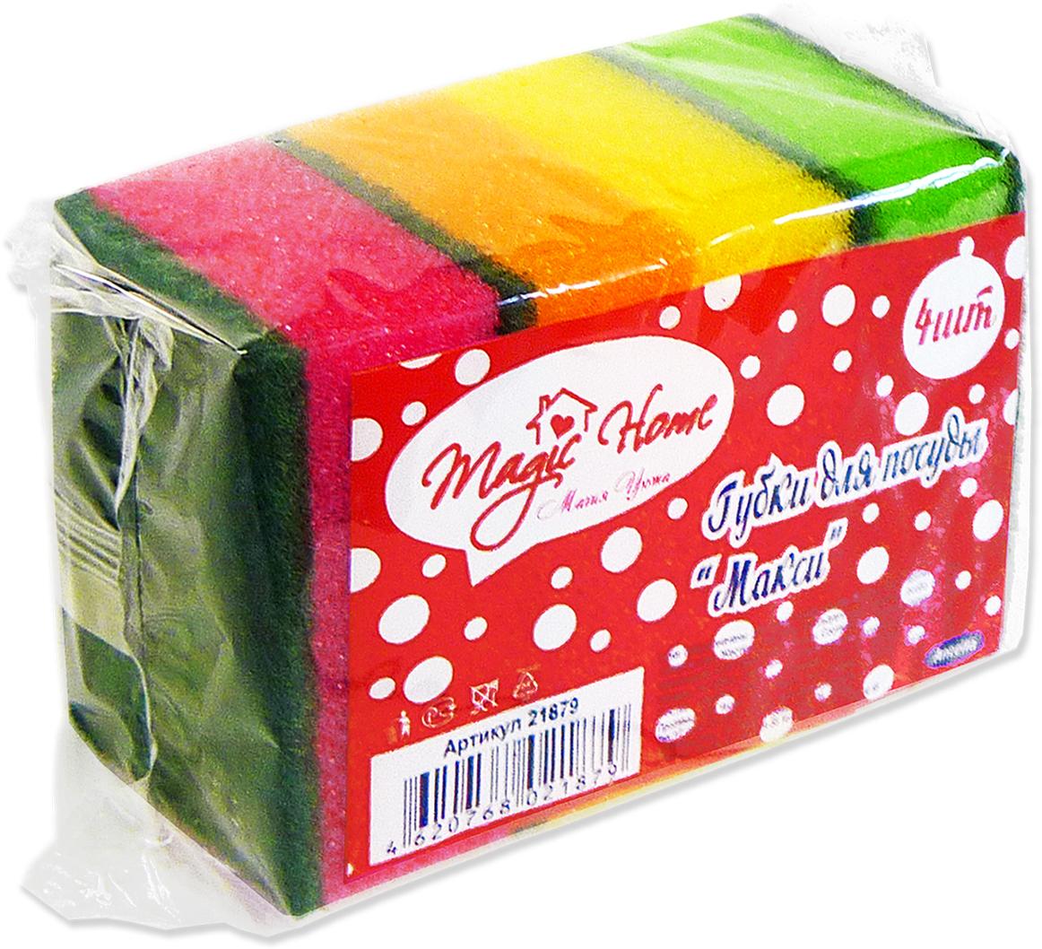 Губка для мытья посуды Magic Home Макси, 4 шт губка для мытья посуды фозет мини соты 2 шт