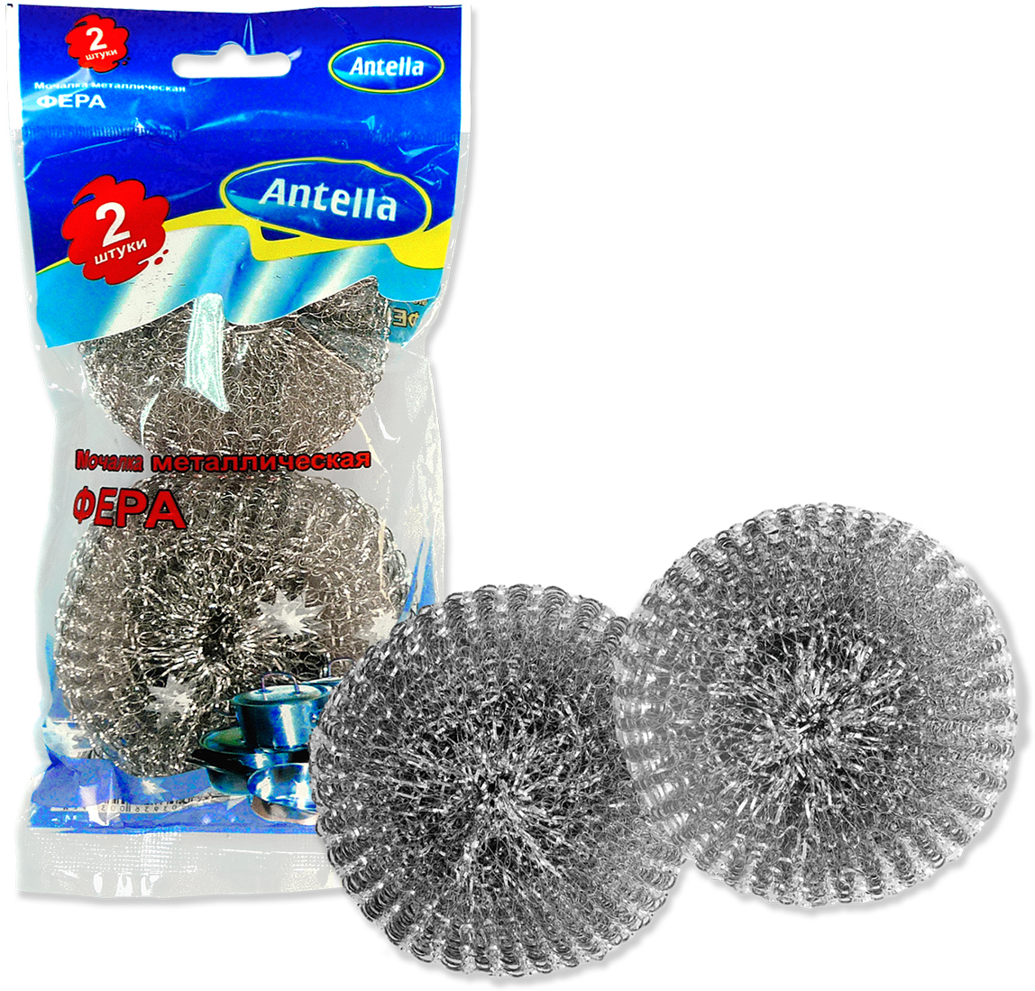 Губка металлическая Antella Фера, 2 шт губка для мытья посуды фозет мини соты 2 шт