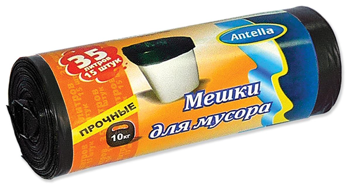 Мешки для мусора Antella, цвет: черный, 35 л, 15 шт