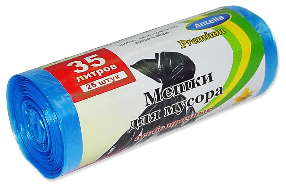 Мешки для мусора Antella, цвет: синий, 35 л, 25 шт