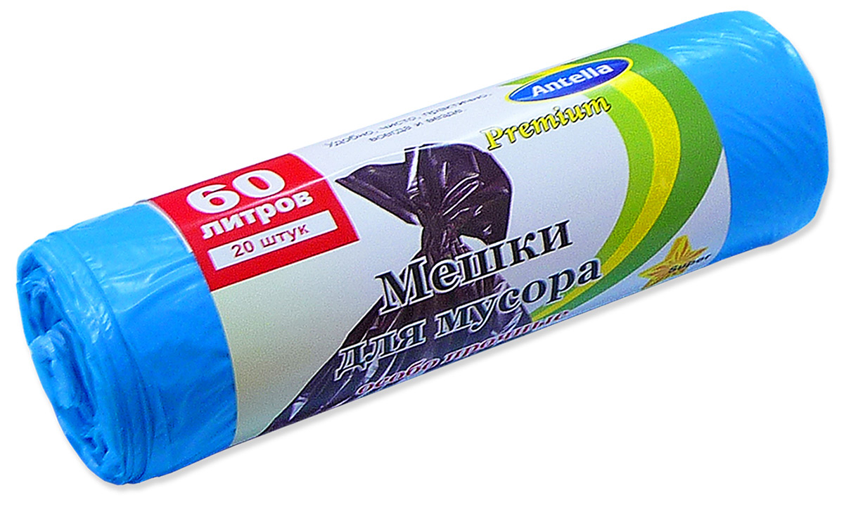 Мешки для мусора Antella, цвет: голубой, 60 л, 10 шт