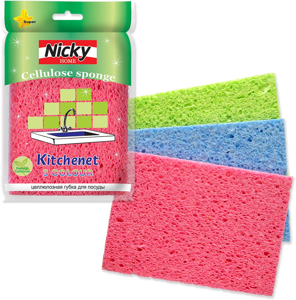 Губка для мытья посуды Nicky Home Kitchenet, 3 шт