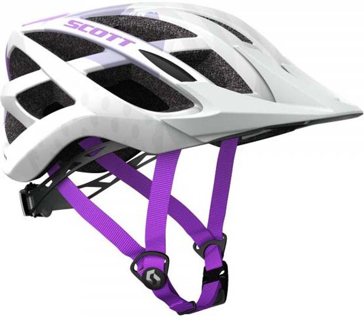 Шлем защитный Scott Spunto, цвет: белый, фиолетовый. Размер 50-56218641-2320SCOTT Spunto - это детский велосипедный шлем со всеми особенностями взрослого.Легко регулируемая система крепления RAS гарантирует, что шлем остается правильно расположенным на голове вашего ребенка, обеспечивая требуемую безопасность.Съемный козырек и улучшенная защита затылка делают - идеальный выбор для вашего ребенка.