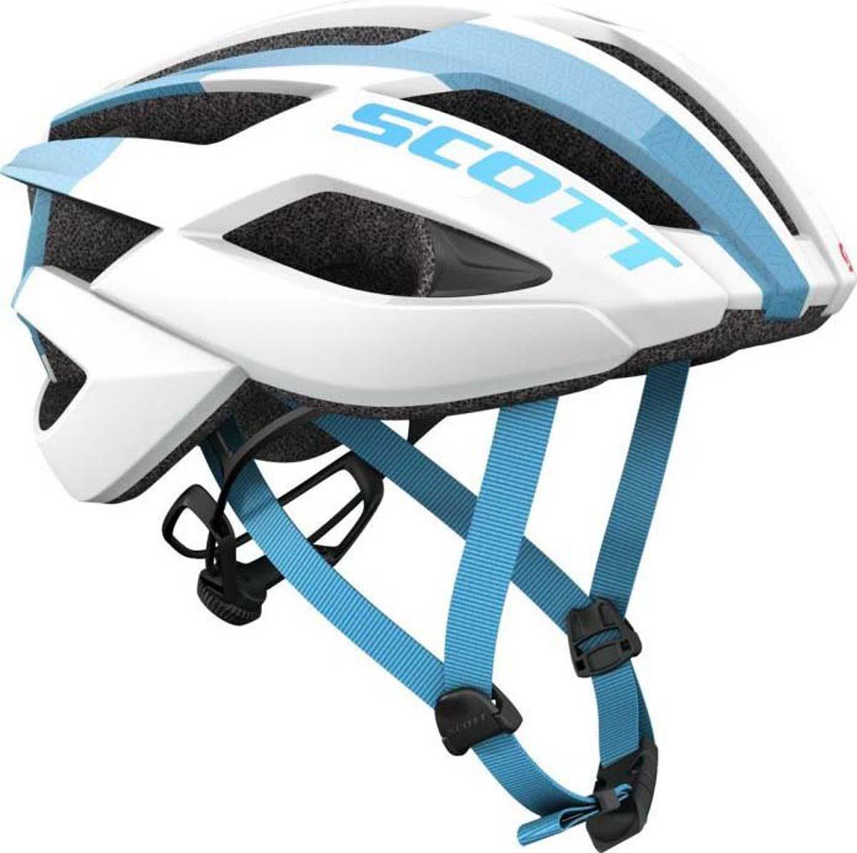 Шлем защитный Scott Arx, цвет: белый, синий. Размер M (55-59)241247-1029Scott Arx предлагает больше, чем можно купить за такие деньги: стремительные формы, замечательную вентиляцию, качественную и довольно комфортную подвеску, а также передовую систему подгонки MRAS2, которую можно встретить на топовых моделях.Особенности Scott Arx: - оптимизированная система вентиляции; - регулируемая система подвески; - технология In-Mold; - технология PC Micro Shell; - система подгонки MRAS2; - вес 240 г (Размер М).