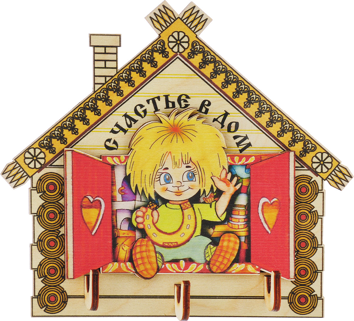 Ключница Артель Счастье в дом830950Сувениры из дерева — хороший презент для родных и близких. Вы можете сделать такой подарок по любому поводу и даже без него. Природная теплота дерева передаст с собой теплоту вашего сердца и выразит самые добрые намерения. Ключница Деньги в дом не только добавит уют интерьеру, но и станет оберегом для домашнего очага. Дом с таким хранителем надёжно защищён от неудач и напастей.