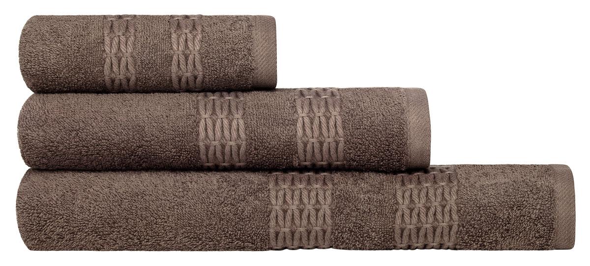 Набор полотенец Estia Филоменто, цвет: коричневый, 3 предмета полотенца arya полотенце poly цвет экрю 30х30 см 4 шт
