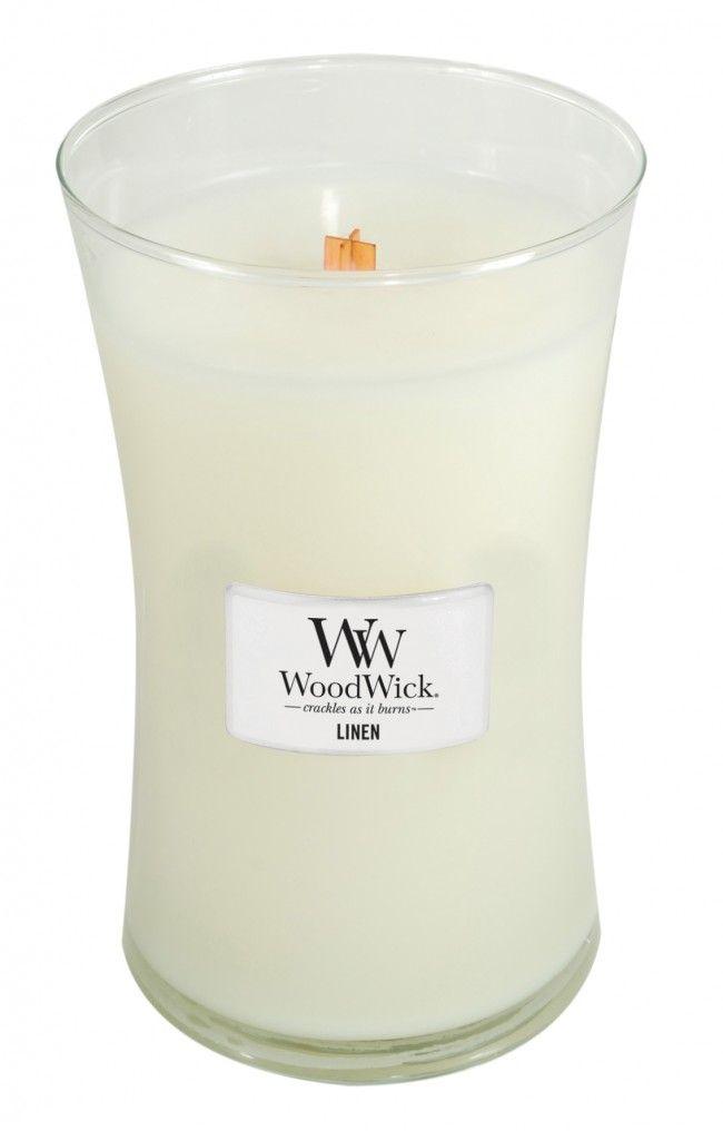 Свеча ароматизированная WoodWick Лён, высота 18 см свеча ароматизированная woodwick закат на пляже высота 9 5 см