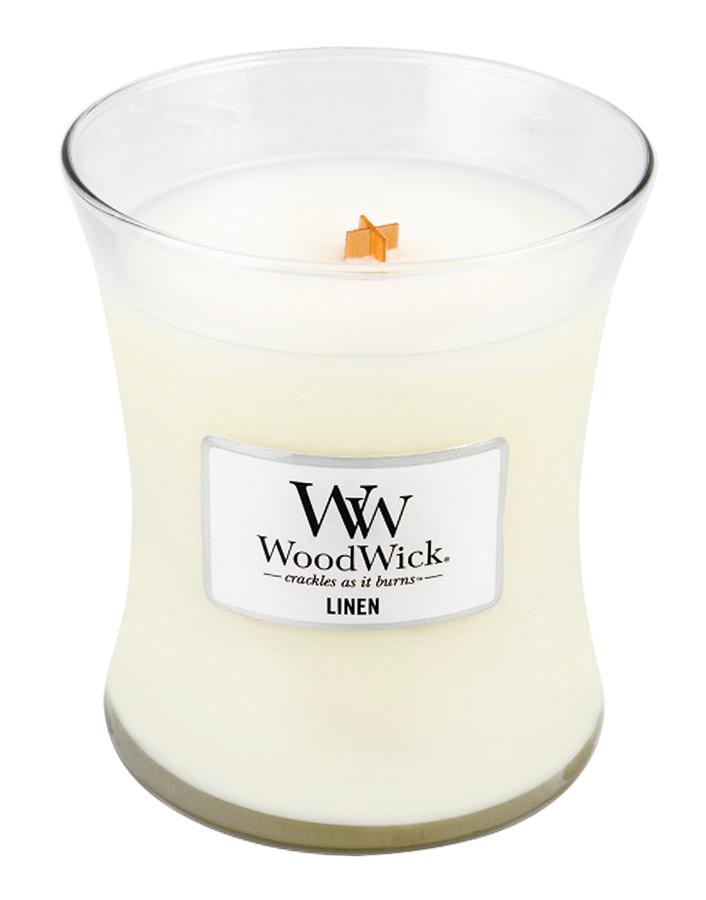 Свеча ароматизированная WoodWick Лён, высота 6 см свеча ароматизированная woodwick экзотические пряности тройная высота 11 см