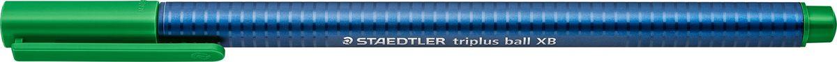 Staedtler Шариковая ручка Triplus Ball цвет чернил зеленый437XB-5Шариковая трехгранная ручка triplus ball 437 серии. Цвет зеленый. Эргономичная форма для удобного и легкого письма. Цвет корпуса соответствует цвету чернил. Очень гладкое и легкое письмо за счет оптимального диаметра шарика (1,4 мм). Толщина линии XB (супертолстая) - приблизительно 0,7 мм.Безопасно для самолетов - автоматическое выравнивание давления предотвращает от вытекания чернил на борту самолета.