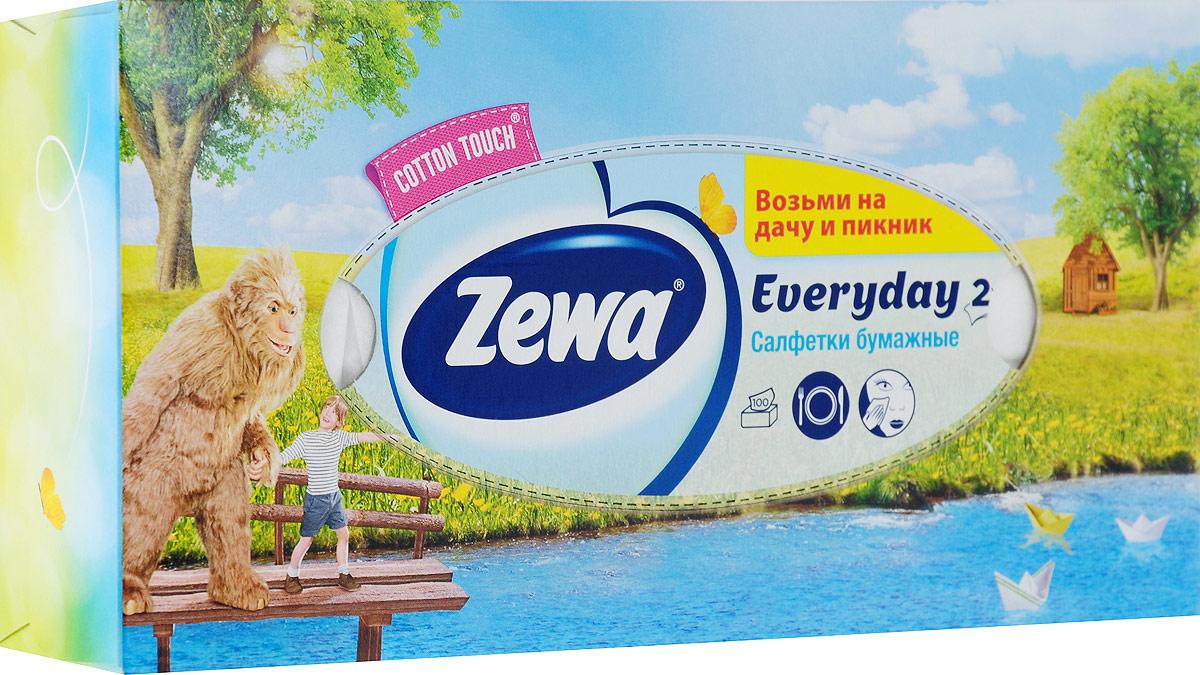 Zewa Платки косметические в коробке Everyday, двухслойные, цвет: голубой, салатовый, коричневый, 100 шт