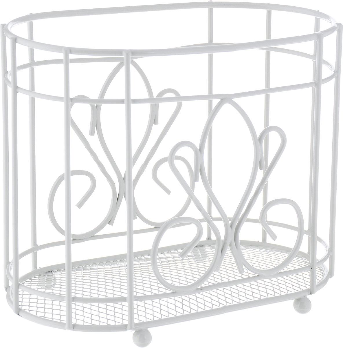 Подставка для столовых приборов Walmer Provence, цвет: белый, 18 х 10 х 15 см подставка для столовых приборов cosmoplast цвет красный диаметр 14 см