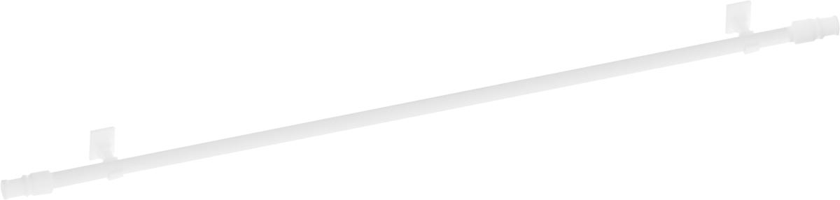"""Круглый карниз Эскар """"Калифорния"""" выполнен из металла. Подходит для использования одного вида занавесей. Поверхность гладкая. Крепление производится на раму, при помощи держателей на двухсторонний скотч или саморезы.  В комплект входят: карниз, 2 коротких кронштейна, 2 длинных кронштейна, 8 саморезов, 4 полоски двухстороннего скотча.   Такой карниз будет органично смотреться в любом интерьере.   Диаметр карниза: 12 мм."""