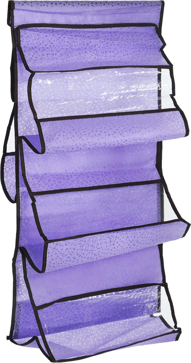 Кофр подвесной для сумок El Casa Геометрия стиля, 5 секций, цвет: сиреневый, черный, 40 х 90 см horoz настольная лампа horoz donald hl043 11w зеленый pl g23 048 007 0011 hrz00000728