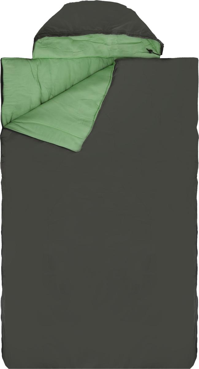 Спальный мешок Onlitop Престиж, увеличенный ,правосторонняя молния, цвет: зеленый. 1009081
