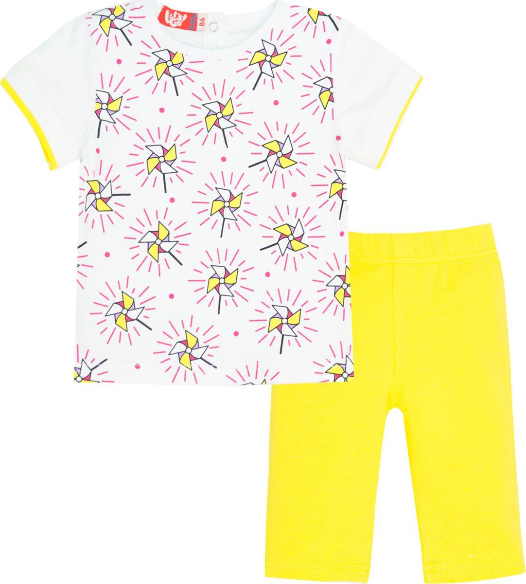 Комплект одежды для девочки Let's Go: футболка, бриджи, цвет: белый, желтый. 4116. Размер 86 комплект одежды для девочки let s go футболка бриджи цвет лиловый фиолетовый 4132 размер 74