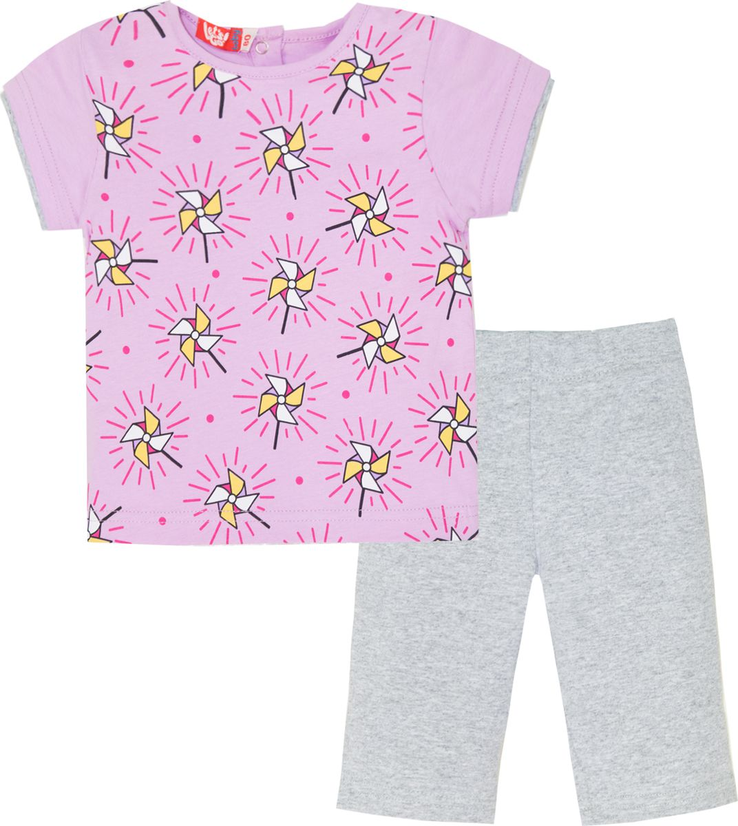 Комплект одежды для девочки Let's Go: футболка, бриджи, цвет: светло-сиреневый, серый. 4116. Размер 86 комплект одежды для девочки let s go футболка бриджи цвет лиловый фиолетовый 4132 размер 74
