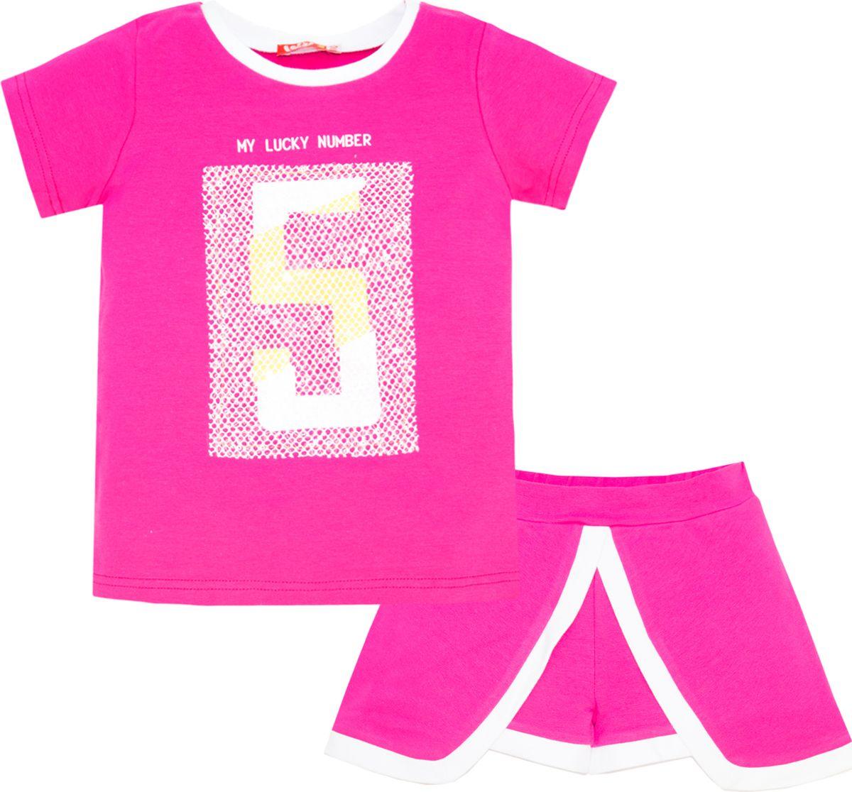 Комплект одежды для девочки Let's Go: футболка, шорты, цвет: малиновый. 4121. Размер 164 комплект одежды для девочки let s go футболка бриджи цвет лиловый фиолетовый 4132 размер 74