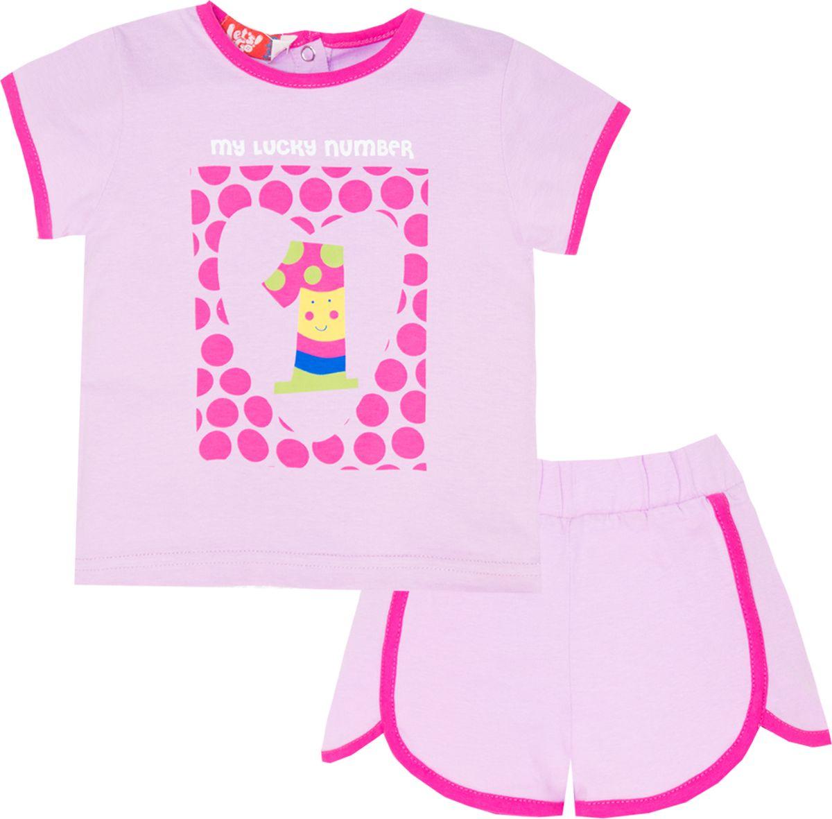 Комплект одежды для девочки Let's Go: футболка, шорты, цвет: светло-сиреневый. 4117. Размер 86 трусы для девочки let s go цвет белый сиреневый 1247 размер 80