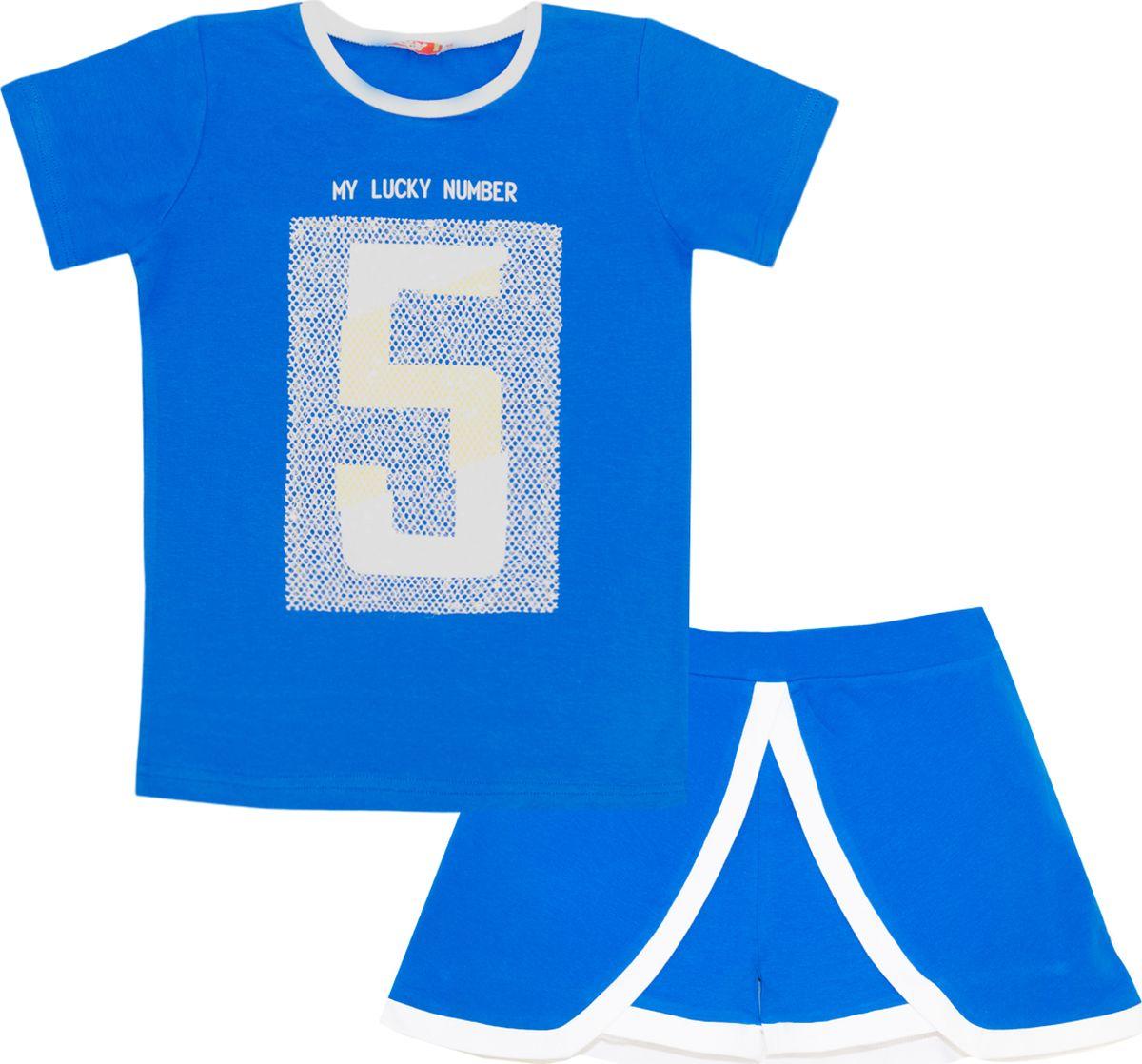 Комплект одежды для девочки Let's Go: футболка, шорты, цвет: темно-синий, малиновый. 4121. Размер 164 комплект одежды для девочки let s go футболка бриджи цвет лиловый фиолетовый 4132 размер 74