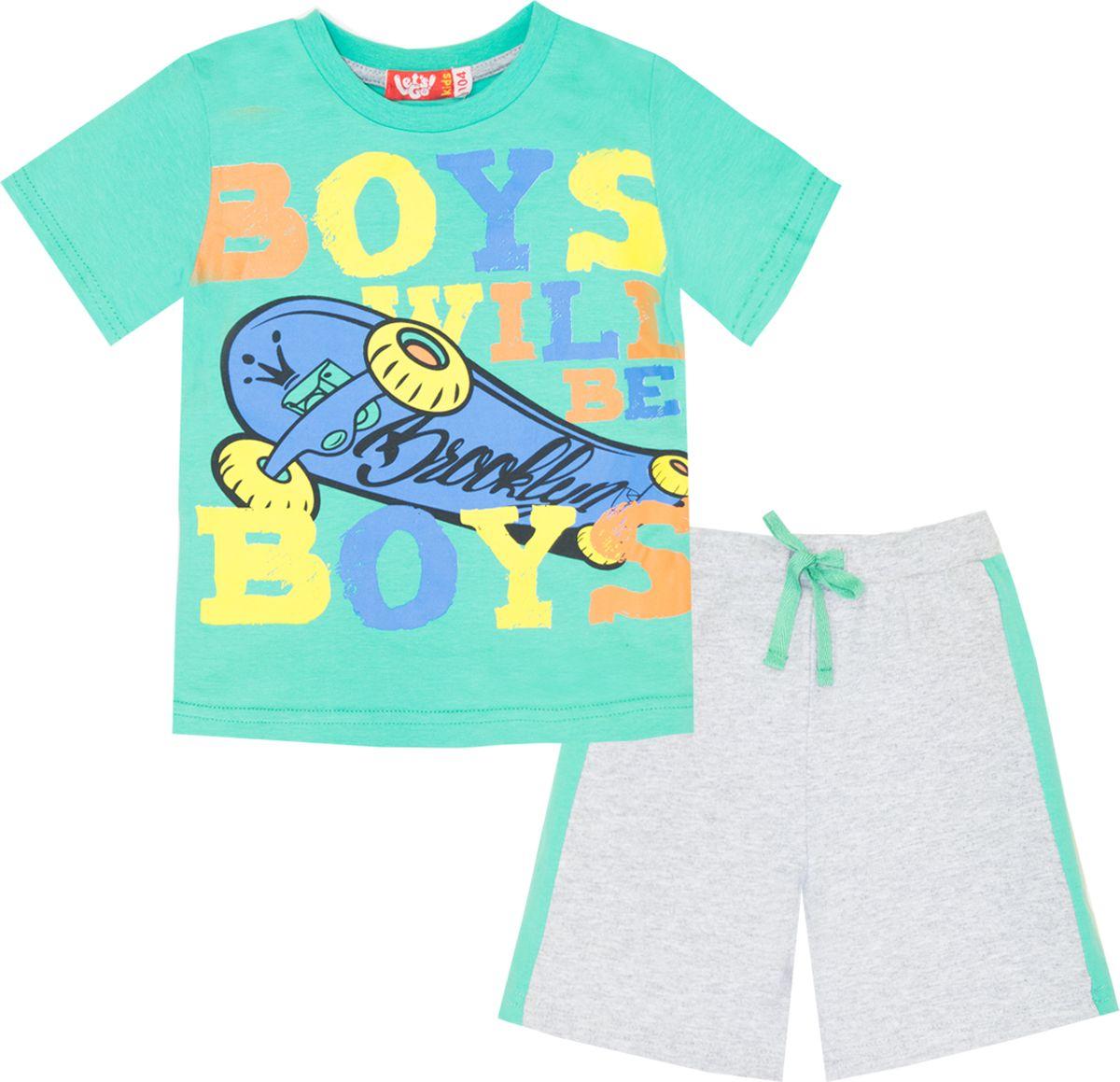 Комплект одежды для мальчика Let's Go: футболка, шорты, цвет: зеленый, серый. 4219. Размер 98 футболка rabe klingel цвет зеленый серый рисунок