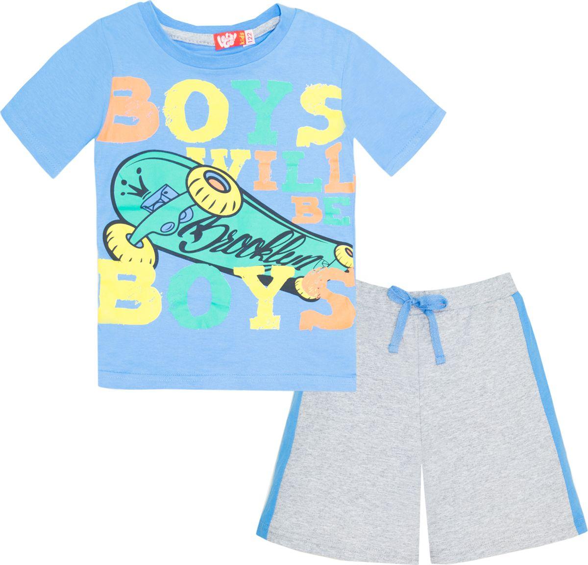 Комплект одежды для мальчика Let's Go: футболка, шорты, цвет: темно-голубой, серый. 4219. Размер 98 комплект одежды для мальчика let s go футболка шорты цвет горчичный оливковый 4231 размер 98
