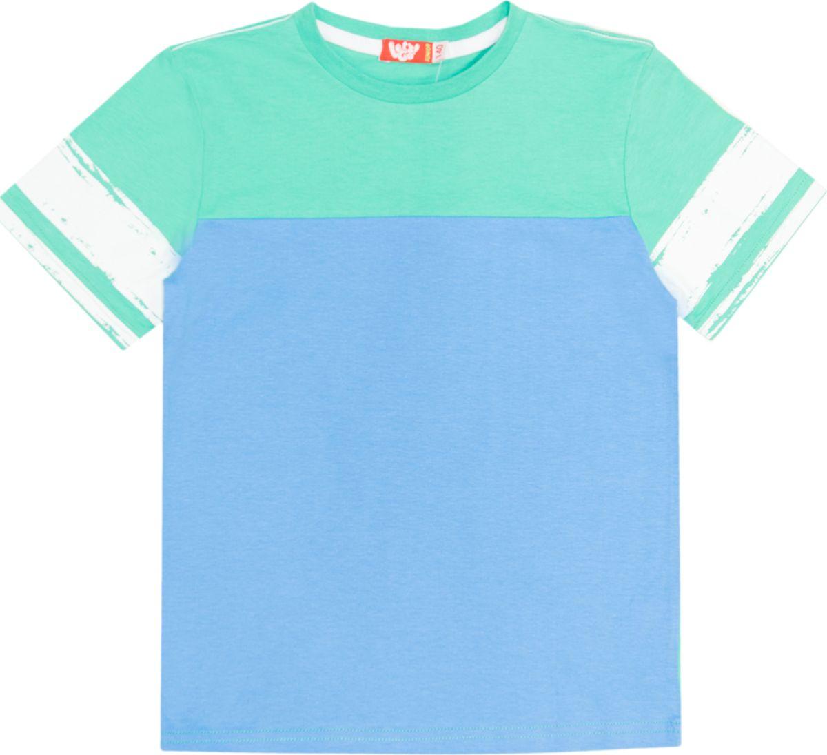 Футболка для мальчика Lets Go, цвет: зеленый, темно-голубой. 5250. Размер 1585250