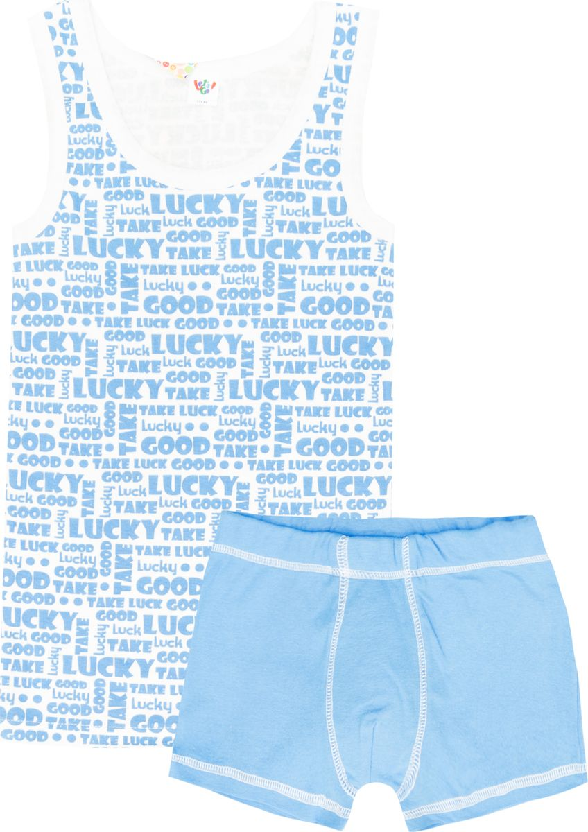 Комплект белья для мальчика Let's Go: майка, трусы-боксеры, цвет: белый, голубой. 3254. Размер 164 комплекты белья let s go комплект майка трусы боксеры