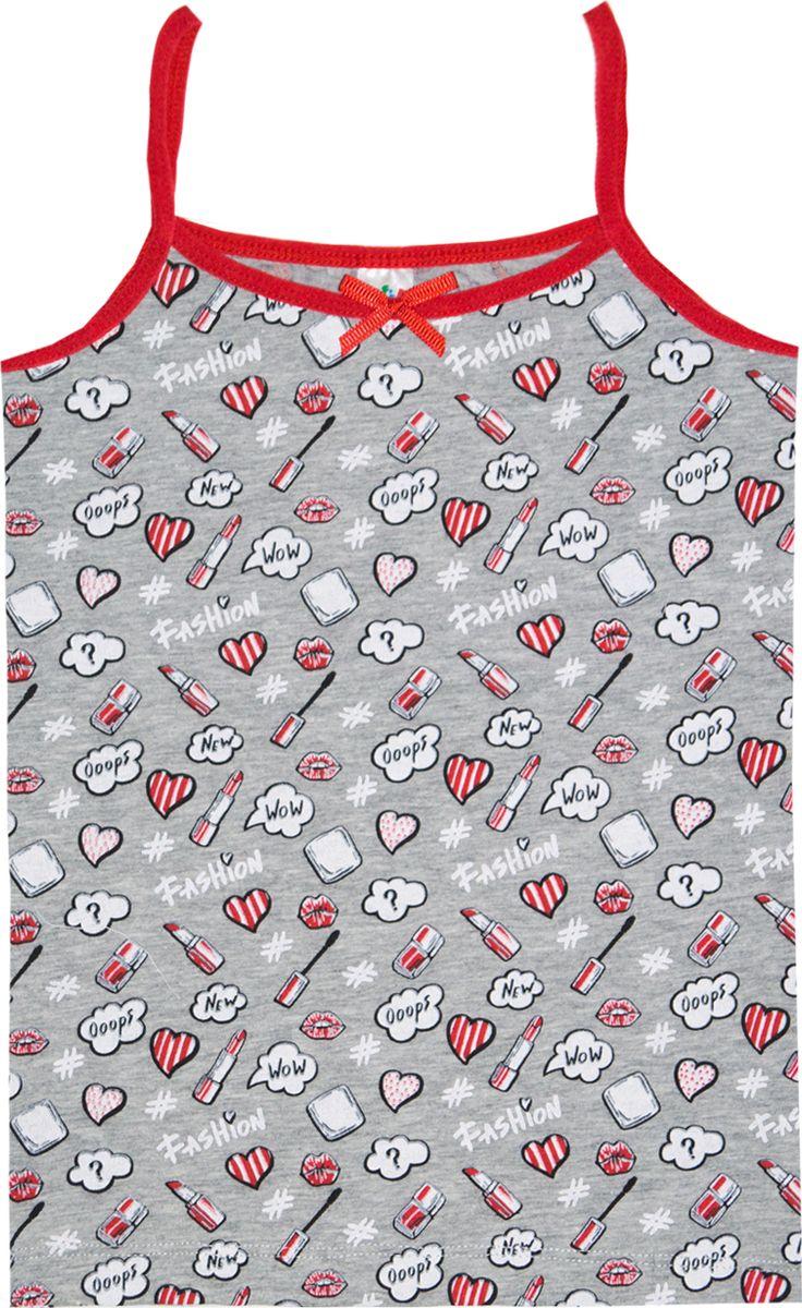 Майка для девочки Let's Go, цвет: светло-серый, малиновый. 2151. Размер 122/128 спортивный костюм для девочки let s go цвет розовый 11110 размер 128