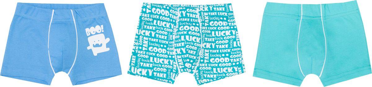 Трусы-боксеры для мальчика Let's Go, цвет: голубой, бирюзовый, 3 шт. 12044. Размер 98/104 трусы боксеры для мальчика button blue цвет серый темно серый 2 шт 118bbbu96031900 размер 104