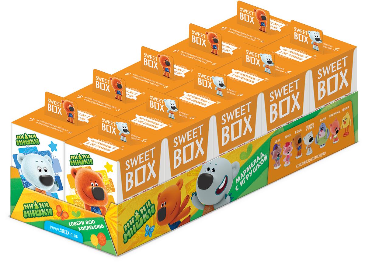 Картонная коробочка с игрушкой и мармеладом внутри. Коробочка с полноцветной печатью и дизайном. В каждой коробочке коллекционная 3Д - игрушка Ми-ми-мишка в индивидуальном пакетике с дизайном и лифлетом.
