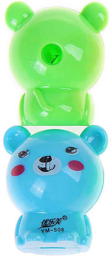 Набор точилок с контейнером Мишка цвет голубой зеленый 2 шт 835100 herlitz точилка с контейнером и ластиком цвет голубой зеленый красный