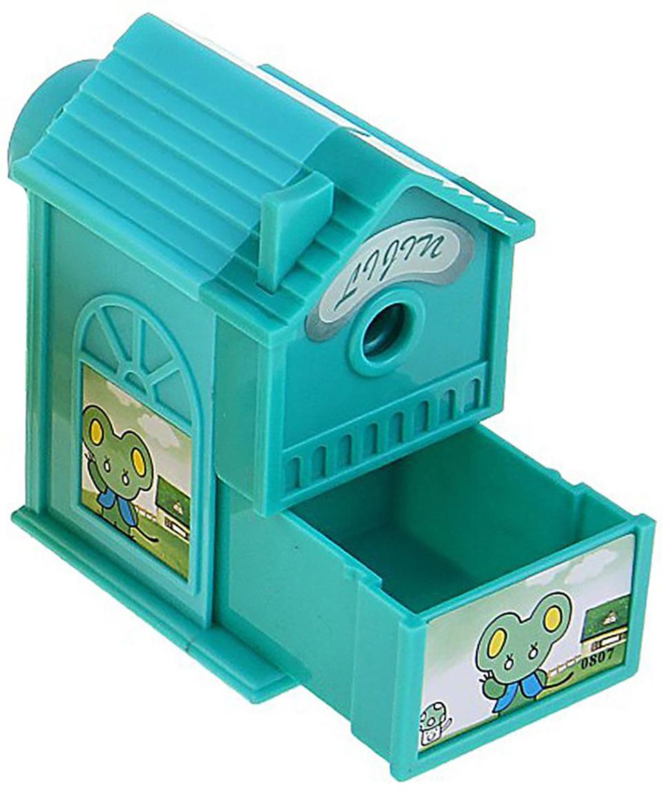 Точилка механическая с контейнером Домик цвет зеленый 649805 точилка для карандашей механическая панда e0518