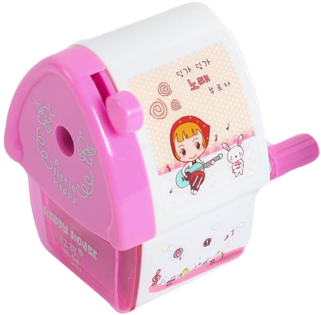 Точилка механическая с контейнером Домик цвет розовый 2694271