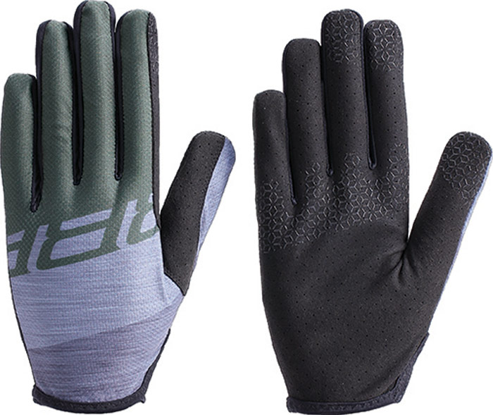 """Перчатки велосипедные BBB 2018 LiteZone, цвет: серый, зеленый. Размер SBBW-54Легкие перчатки для марафонов и гонок кросс-кантри с длинными пальцами. Технические характеристики: - Тыльная сторона из сетчатого материала. - Защита из материала Clarino на большом и указательном пальцах. - Удлиненная """"ладонь"""" в районе указательного пальца для лучшего сцепления. - Однослойная перфорированная ладонь для оптимальной чувствительности и вентиляции. - Размеры: S, M, L, XL и XXL. - Цвет: черный/серый, серый/оранжевый, серый/оливковый и серый/ красный."""